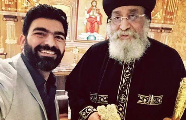 Michael Victor avec le Pape Tawadros